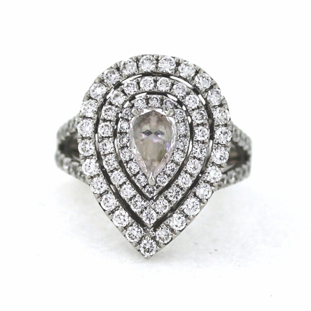 86 Round Brilliant = 1.43cts Size 6 .51 Rose Cut Pear Shape = 0.43ct 18K White Gold Lady's Ring LR1792