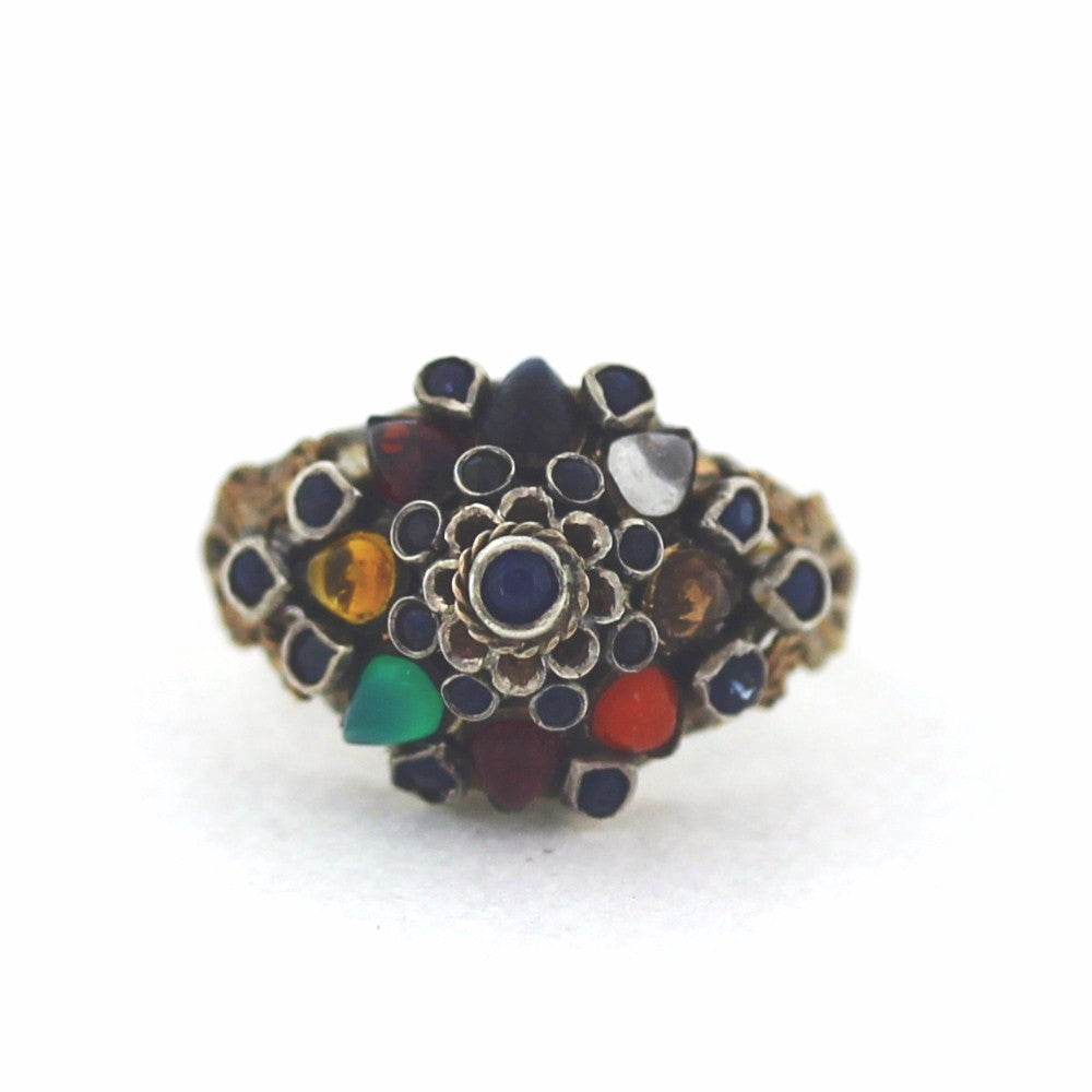 Estate Multi Color Bombe style Dome 14K Yellow Gold Lady's Ring LR1842