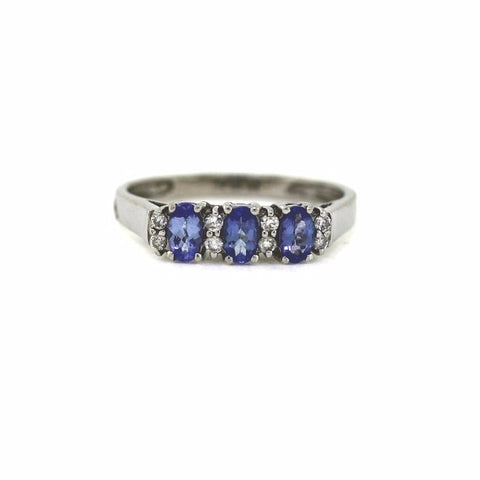 Estate Tanzanite & 8 Round Brilliant = .12 2.8gr 14K White Gold Lady's Ring LR2032
