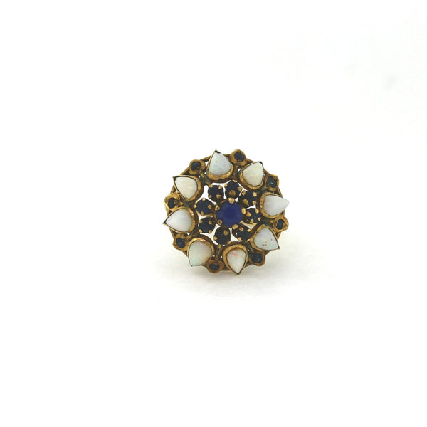Estate Sapphire & Opal cluster 14.9gr 14K Yellow Gold Lady's Ring LR2074
