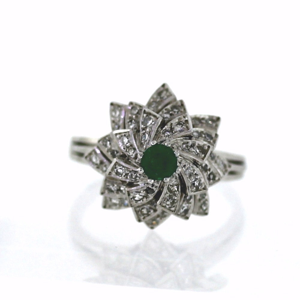 Estate 42 Single Cut = .50ctw Round Emerald 10.4gr Platinum Lady's Ring LR2106