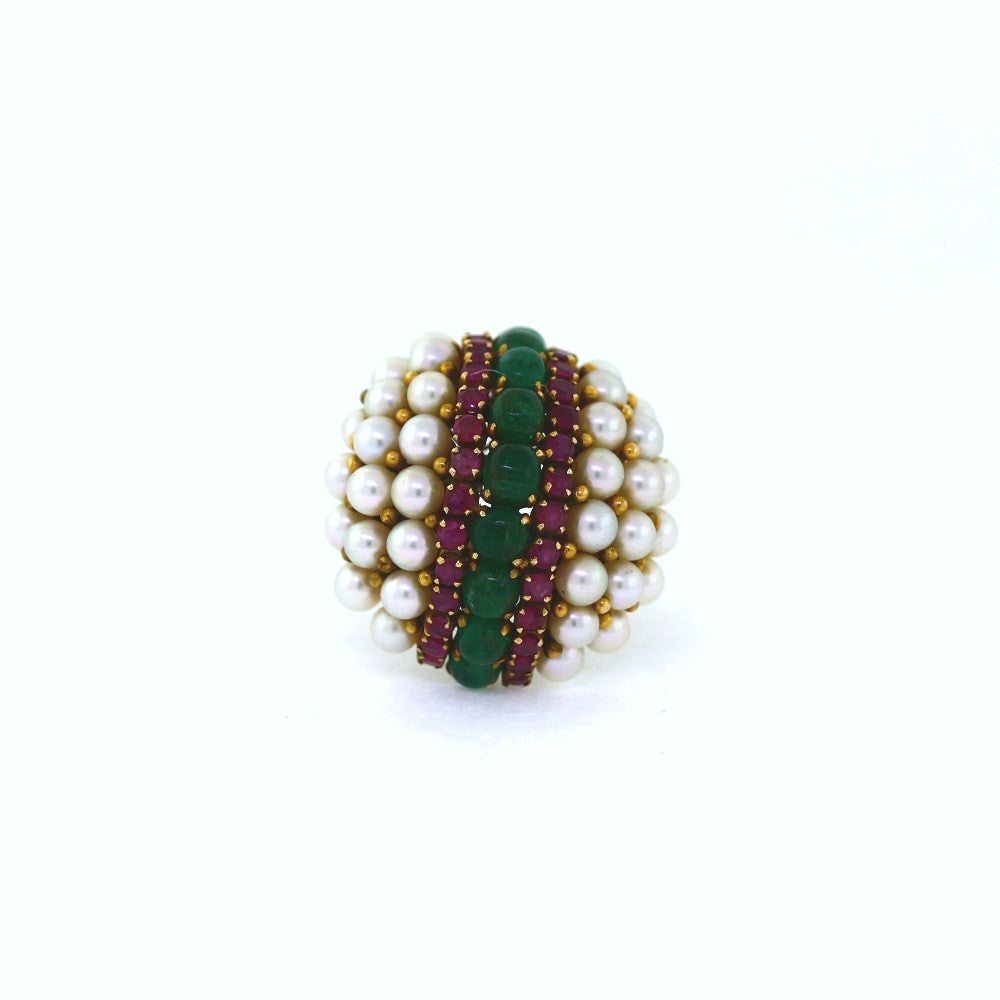 Estate Pearl, Ruby & Emerald Cocktail Ring 27.8gr stamped BDC 14K Yellow Gold Lady's Ring LR2110
