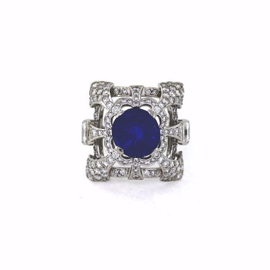 "Estate ""Trent"" 4.45 Blue Sapphire & Round Brilliant = 3.21 Platinum Lady's Ring LR2217"
