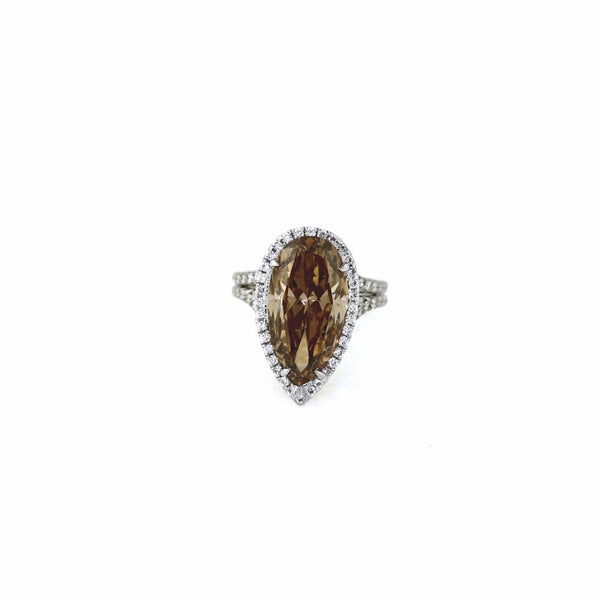 Pear Shape Diamond 8.61 ct Fancy Brown SI2 and 94 Round Brilliant = 0.80ct, Two Tone 18K Gold Ring FC2402 LR2237