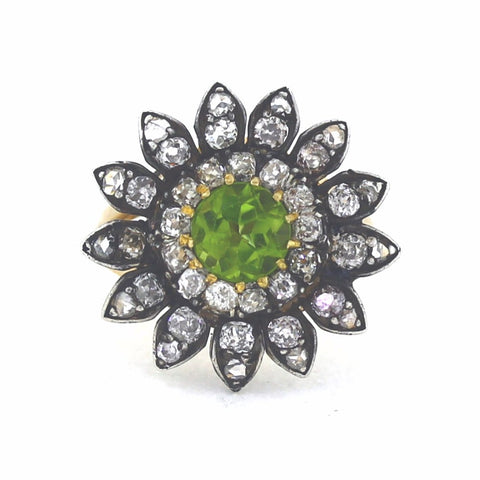 Estate Victorian Peridot Diamond Silver over Gold Top 14K Yellow Gold Lady's Ring LR2245