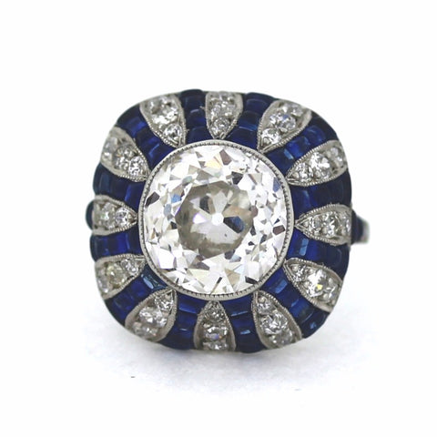 Estate  5.70ct  H Diamond Old European Cut Vs2 &  Sapphire Platinum  Ring GIA Report Lab Report Approx.Wt. LR2254