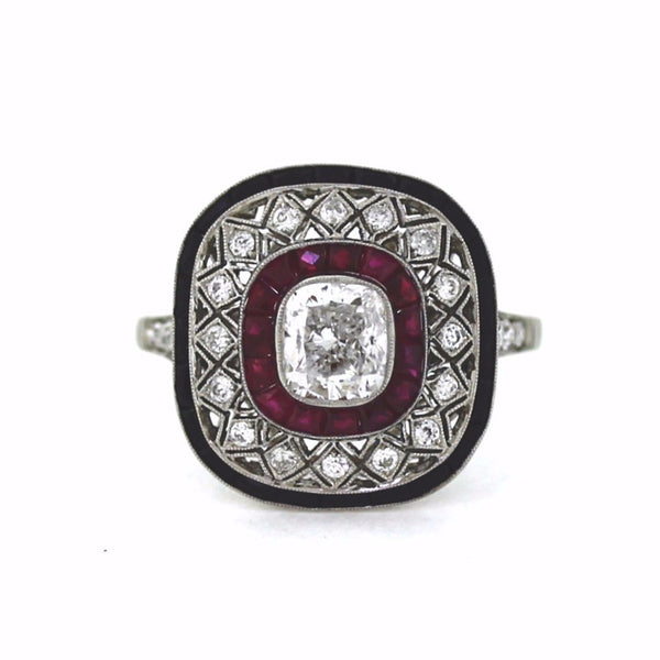 1 Cushion Cut = 1.01 Ruby, Onyx Platinum Lady's Ring LR2260
