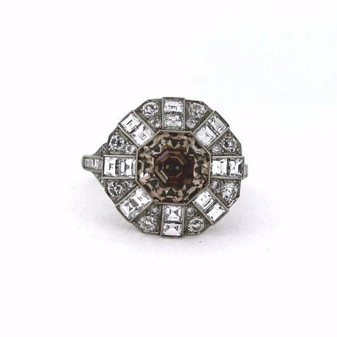 Estate 4.11ct Fancy Brownish Yellow Diamond Antique Octagon &  2.45ctw White Diamond Antique Round & Square Platinum  Ring GIA Report Lab Report Circa 1930 Approx.Wt. Size 7 LR2276