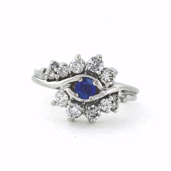 Estate .30 Blue Sapphire 15 Round Brilliant = 1.20ctw 4.7gr 14K White Gold Lady's Ring LR2362
