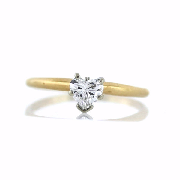 Estate Solitaire .30 Heart Shape H SI2 14K Yellow Gold Lady's Ring LR2381