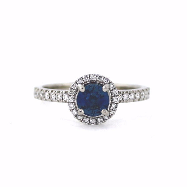 36 Round Brilliant = .30ctw 1.03 Sapphire 3.15gr 18K White Gold Lady's Ring LR2432