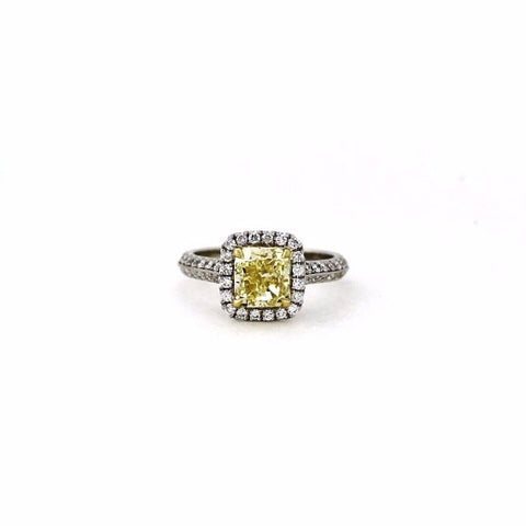 2.00 Cushion Cut Diamond Fancy Yellow Light VS2 and 60 Round Brillinat Diamonds = .59 ctw, Two Tone 18K Gold Ring GIA # 2151648100 FC2326 LR2467