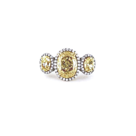 1 Oval = 5.36ct Fancy Yellow SI2 2 Oval = 2.55ct Fancy Yellow Light VVS2 64 Round Brilliant = 0.49ct G VS1 GIA Certs Platinum & 18K Gold Lady's Ring LR2472