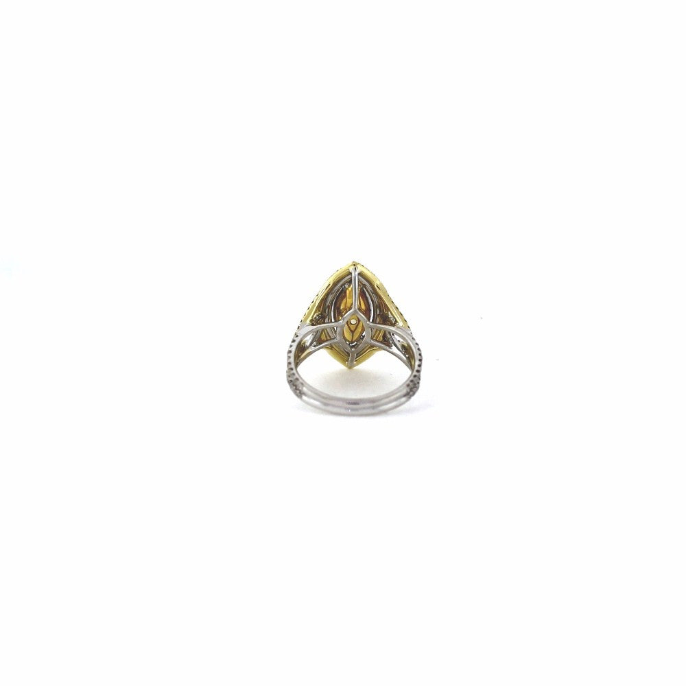 Marquise Cut Diamond = 1.41 ct Fancy Yellow Light VS2 and 74 Round Brilliant Diamonds = .40 ct, 77 Fancy Yellow Diamonds = .30 ct., Two Tone 18K Gold Ring GIA # 2125634796 FC2371