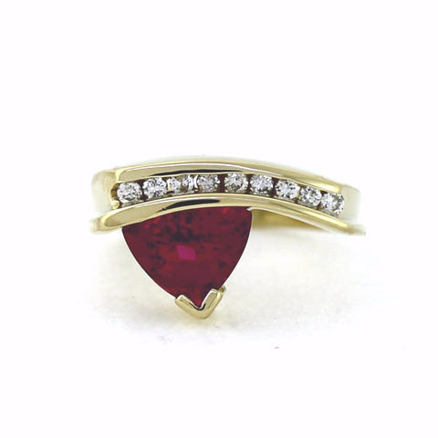 Estate 1.70 Pink Tourmaline 9 Round Brilliant = .24 4.7gr 14K Yellow Gold Lady's Ring LR2493