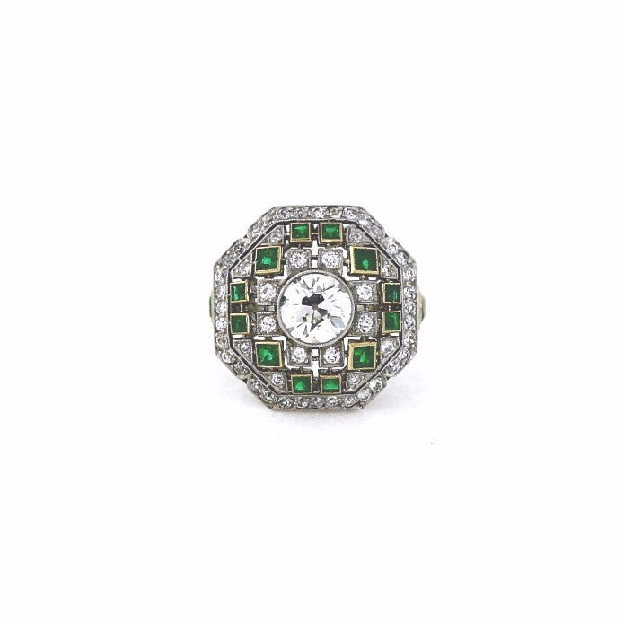 1 Old European Cut = 1.51ct Round Brilliant = .90cts Emeralds = 1.00 Platinum Lady's Ring LR2505
