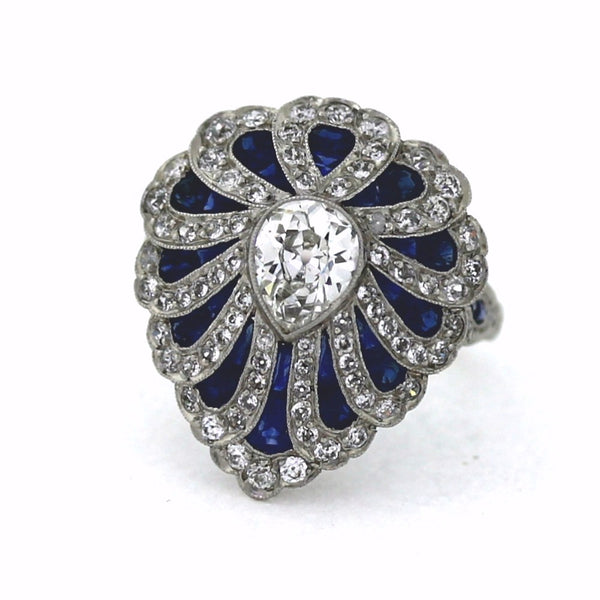 1 Pear Shape = 0.98ct H VS2 Round Brilliant = .84 Fancy Color Sapphires Platinum Lady's Ring LR2509