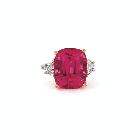 11.53 Pink Tourmaline Half Moon = 0.78 Round Brilliant = .24 Platinum & 18K Gold Lady's Ring LR2591