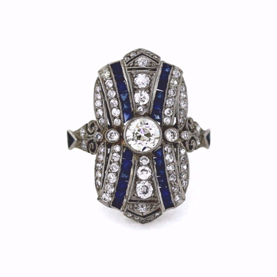 Estate 1 Old European Cut = 0.53ct Center Sapphire & Diamond Platinum Lady's Ring LR2604