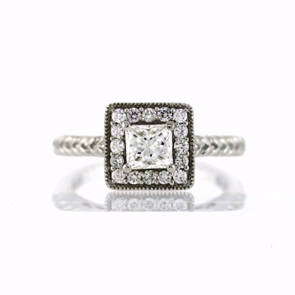 1 Princess Cut = .75ct 16 = .32ctw 7.6g 14K White Gold Lady's Ring LR2630