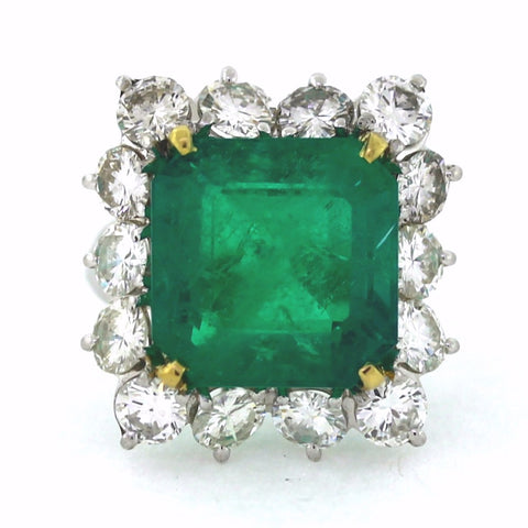 Estate 13.00ct Square Green Emerald &  4.00ctw White Round Diamonds = 14 Stones, 14K White Gold Ring GIA Report Lab Report Approx.Wt. Size 6 LR2645