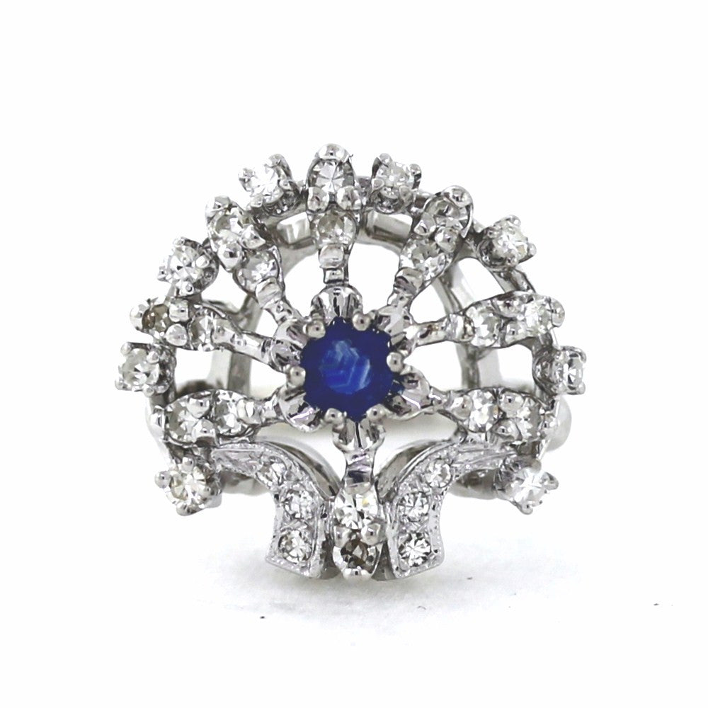 Estate .33 Sapphire & Diamonds 14K White Gold Lady's Ring Size 6.5 LR2648