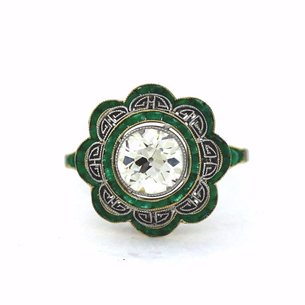 Estate 1 Old European Cut = 1.62ct Emeralds Platinum & 18K Gold Lady's Ring LR2656