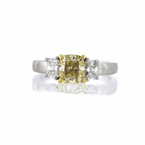 2.06 ct. Radiant Cut Diamond, Fancy Yellow VS2 and Estate 2 Radiant Cut Diamonds = .87 ctw, 18K Gold and Platinum GIA # 13458292 FC2441 LR2659