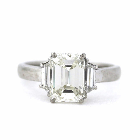 2.41 ct Emerald Cut Diamond J VS1 and 2 Trapezoid Cut Diamonds = 0.38 ct, Platinum Ring GIA # 2171431019 D17006