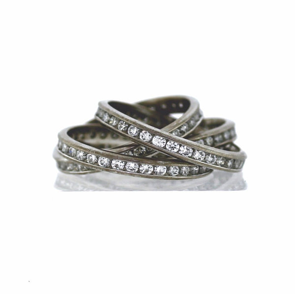 Estate 140 Round Brilliant = 4.20ctw 12.3gr Rolling Ring 4 Bands 18K White Gold Lady's Ring LR2708