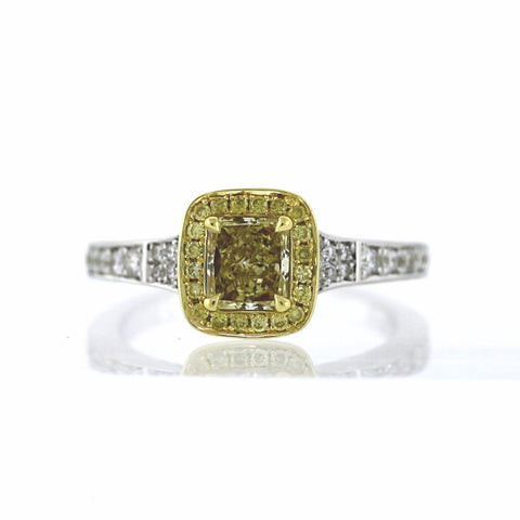 .77 Fancy Yellow Radiant Diamond VS2 and 26 Round Brilliant Diamonds = .29, 20 Fancy Yellow Diamonds = .13 ctw, 18K Two Tone Gold Ring GIA # 2151686053 FC2419 LR2715