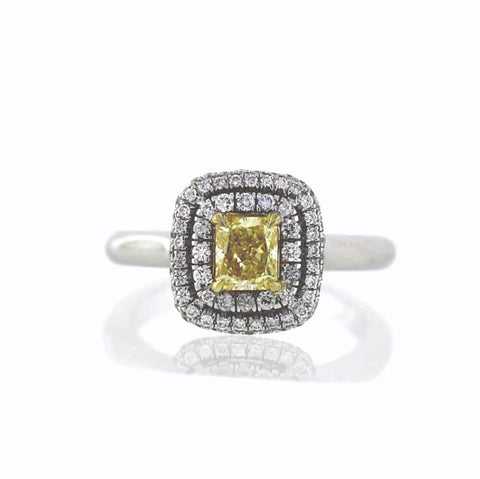 .70 Fancy Intense Yellow Radiant Diamond VS2 and 77 Round Brilliant Diamonds = .33 ctw, 18K Two Tone Gold Ring GIA # 1162105107 FC2415 LR2719