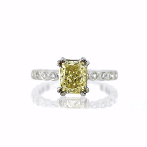 Cushion Cut Diamond = 2.00 Fancy Yellow and 32 Round Brilliant Diamonds = 0.47 cts, Two Tone 18K Gold Ring GIA # 2165899419 FC2405 LR2726