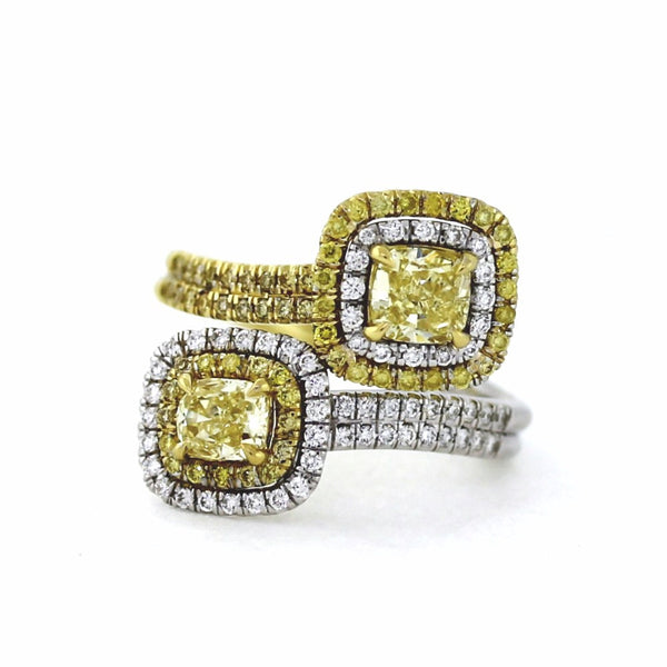 2 Cushion Cut = 1.28ct GIA 57 Round Brilliant = 0.28ct H SI2 Two Tone 18K Gold Lady's Ring LR2728