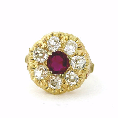 Estate Ruby 1.35 7 Old Mine Cut = 3.00ctw 7.7gr 14K Yellow Gold Lady's Ring LR2735
