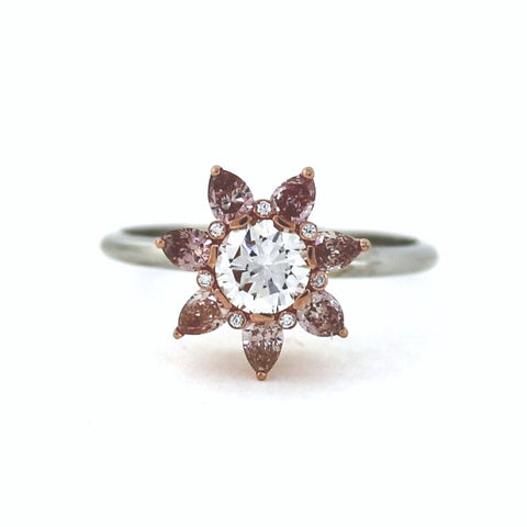 7 Fancy Pink = 0.49ct FX 1 Round Brilliant = 0.53ct E VVS1 7 Round Brilliant = .14 Center Stone GIA Two Tone 18K Gold Lady's Ring LR2748