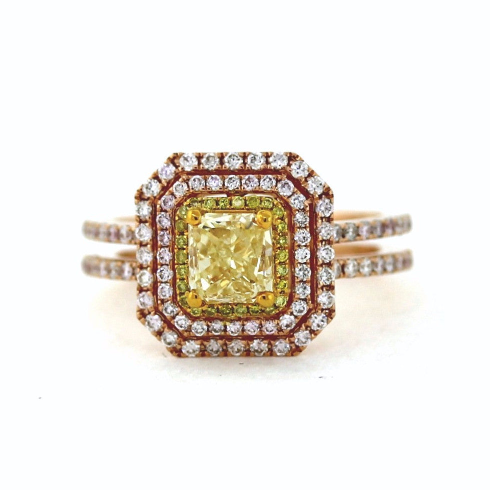1 Radiant Cut = 1.21 26 Fancy Yellow = .07 88 Fancy Pink = .55 Two Tone 18K Gold Lady's Ring LR2766