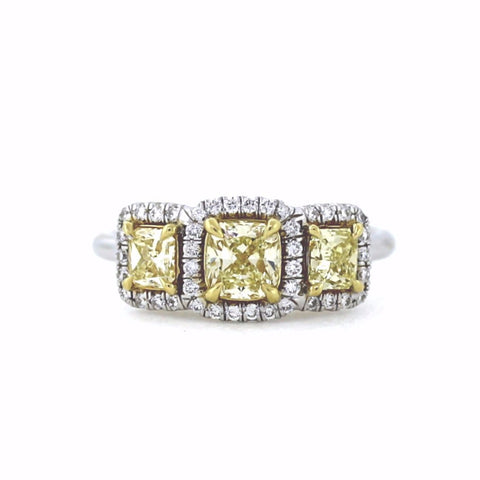 1 Cushion Cut = 0.56ct Fancy Yellow Intense VVS2 GIA 2 Radiant Cut = 0.61 42 Round Brilliant = .23 Two Tone 18K Gold Lady's Ring LR2776