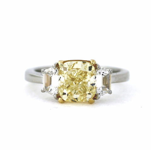 3.01 Cushion Cut Diamond, Fancy Yellow Light VS1 and 2 Trapezoids = .56 ct, 18K Gold and Platinum Ring GIA # 6177362305 FC2450 LR2781