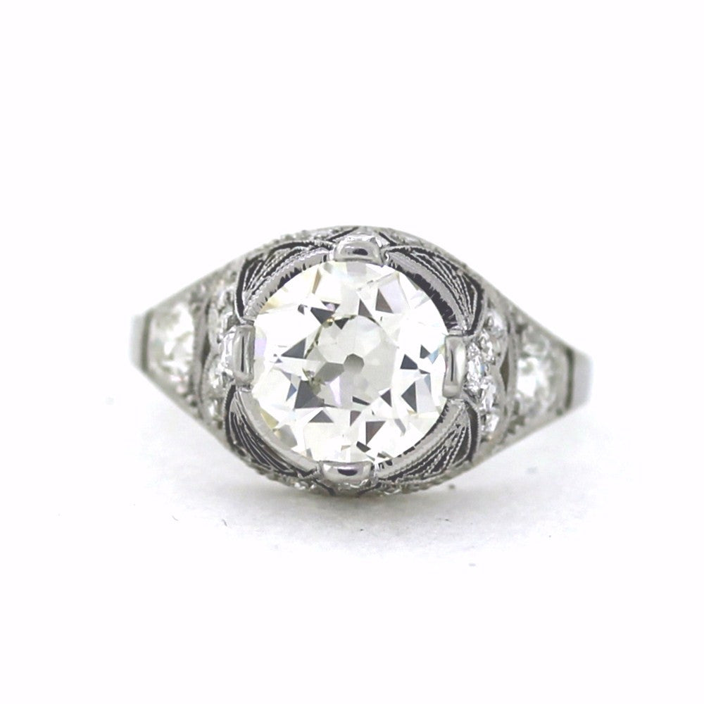 18 European Cut Diamonds = .86ctw & 2.33 J VS1 GIA = 5172365825, Platinum Lady's Ring LR2819, D17174