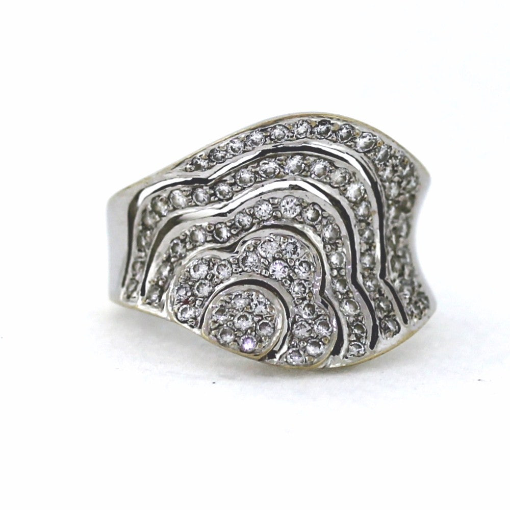 Estate Pave Flower 1.00ctw 8.2gr WCJ West Coast Jewelry 18K White Gold Lady's Ring LR2824