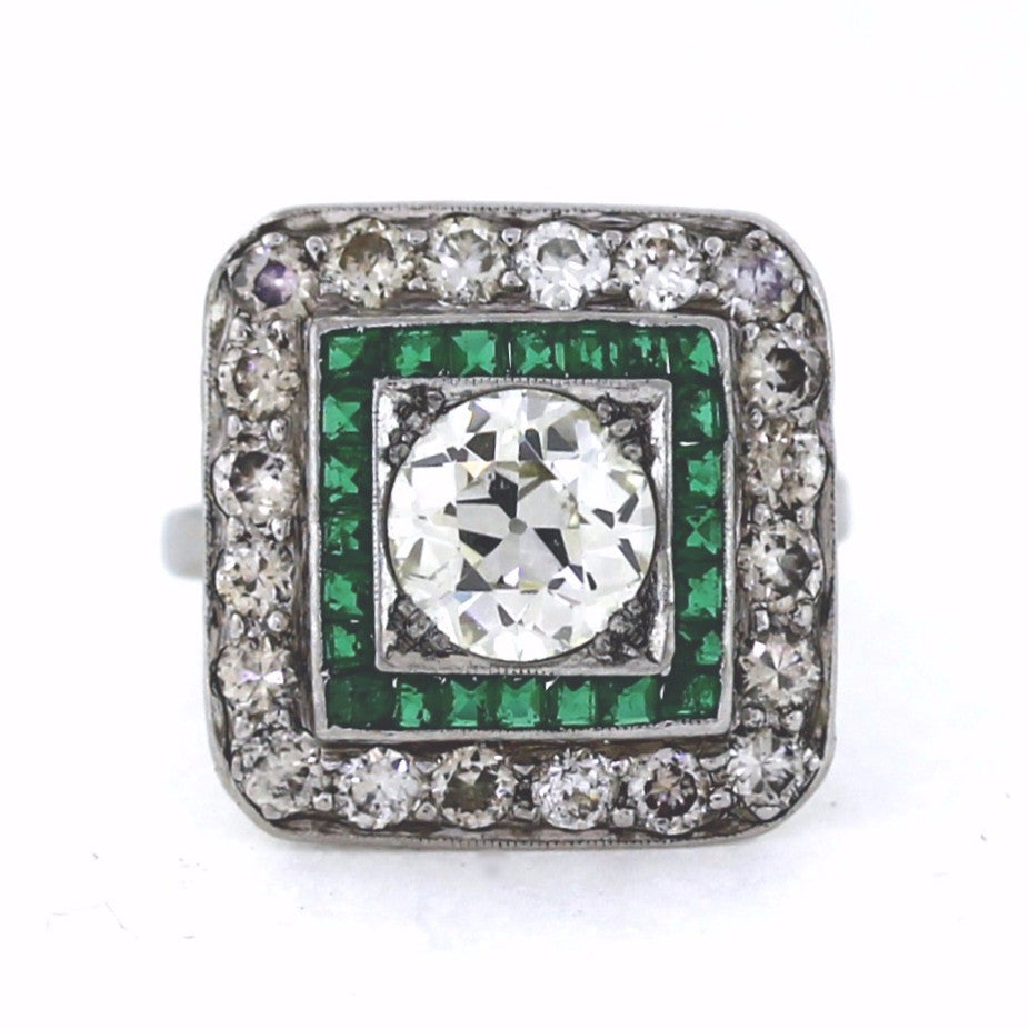 Estate Emerald & Diamond 1 European Cut = 1.34ct Platinum Lady's Ring LR2848