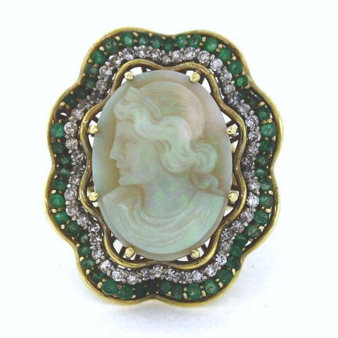 Estate Opal Cameo 50 Single Cut = .75 50 Emerald = 2.00ctw 21.2gr 14K Yellow Gold Lady's Ring LR2855