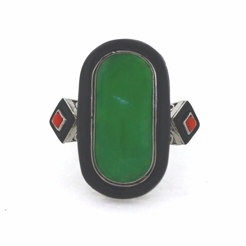 Estate  8.40ct Green Jade Elongated Freeform &  Red Coral Platinum  9.90gr Ring Black Enamel Approx.Wt. Size 7.5 LR2861