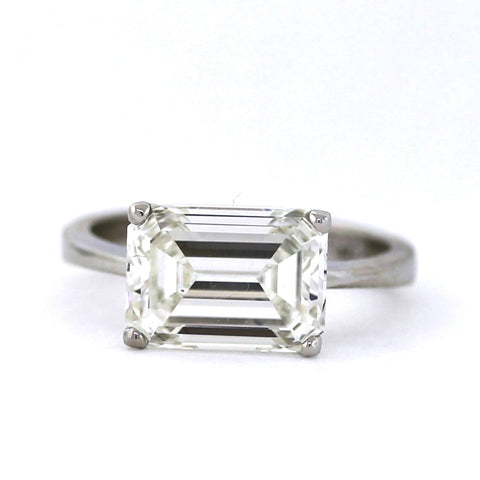 Estate Fred Solitaire Emerald Cut Diamond 5.24 ct K SI1 Platinum Ring GIA # 2175212634 D12915 LR2883