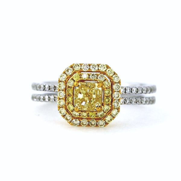 2 Radiant Cut = 0.92 Fancy Yellow VS1 16 Round Brilliant = 0.24 Fancy Yellow 36 Round Brilliant = .26 Two Tone 18K Gold Lady's Ring LR2885