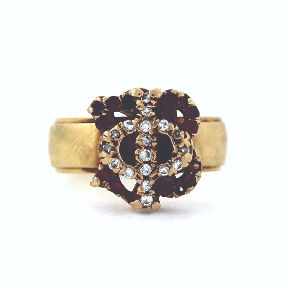 Estate Gamma Phi Beta Ruby & Diamond 10K on 14K Yellow Gold Lady's Ring LR2928