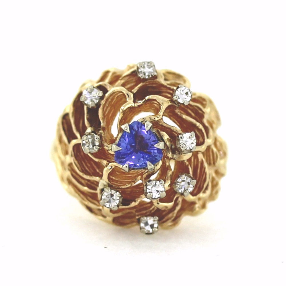 Estate 1 Trillion Cut Tanzanite = .40 9 Round Brilliant = .18ctw 7.5gr 14K Yellow Gold Lady's Ring LR2937
