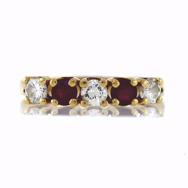 Estate 3 Round Brilliant = .55 2 Ruby = .50 7.4gr 14K Yellow Gold Lady's Ring LR2939
