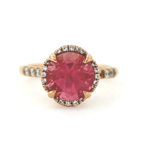 Estate 4ct Pink Tourmaline 30 D = .28 14K Rose Gold Lady's Ring LR2980